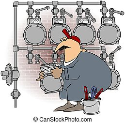 Man Changing A Gas Meter - This illustration depicts a...