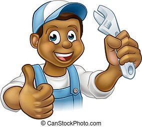 Black Mechanic or Plumber Handyman - A black plumber or...