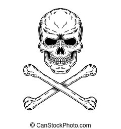 illustration of a skull and crossbones, engraving