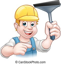 Window Cleaner Squeegee Cartoon Character - A window cleaner...