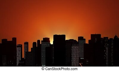 Sunrise over the metropolis HD