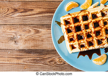 Belgian waffles with chocolate topping - Photo of Belgian...