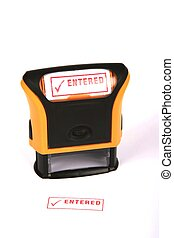 Entered Rubber Stamp - Self inking rubber stamp with the...