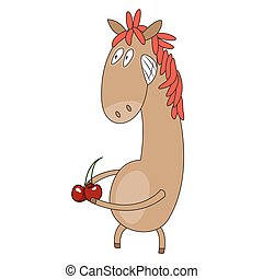 Funny flat character horse on white background. Vector...