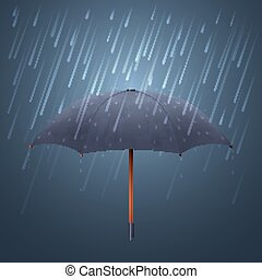 Blue umbrella and fall rain. Cool water storm night sky protection vector illustration