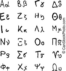 Doodle greek alphabet letters. Hellenic hand drawn vector...