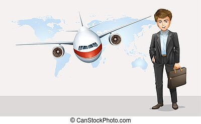 Businessman and airplane flying in background illustration