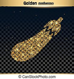 Gold glitter vector icon of courgette isolated on...