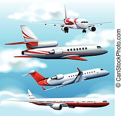 Airplane in four different angles  illustration