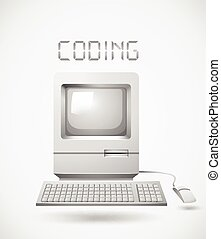 Old fashioned computer with word coding illustration
