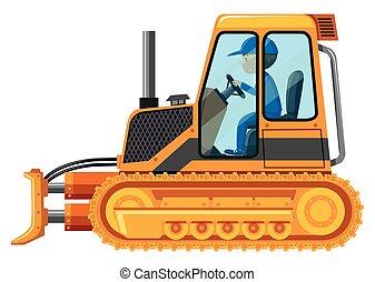 Man driving yellow bulldozer illustration