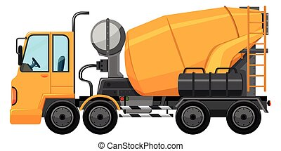 Cement truck in yellow color illustration