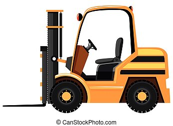 Forklift in yellow color illustration