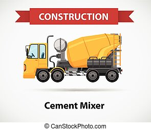 Constructin icon with cement mixer illustration