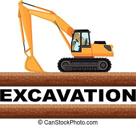 Excavation truck at the field illustration