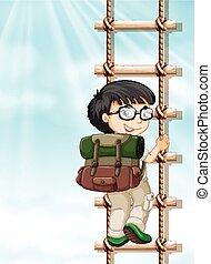 Boy climbing up the ladder