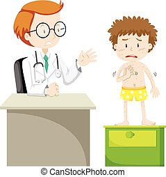 Boy with rashes visiting doctor