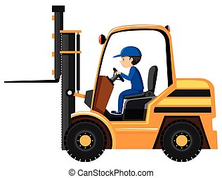 Man driving and controling the forklift illustration
