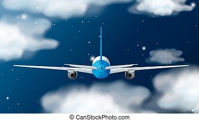 Back of airplane flying at night illustration