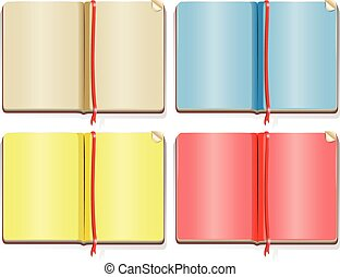 Four different color pages in the books illustration