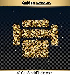 Gold glitter vector icon of printer isolated on background....