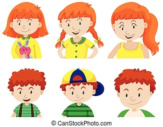 Girl and boy growing up illustration