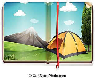 Book with tent in the campground illustration