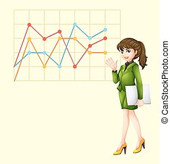 Businesswoman and line graph illustration