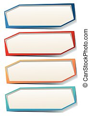 Four rectangle labels in many colors