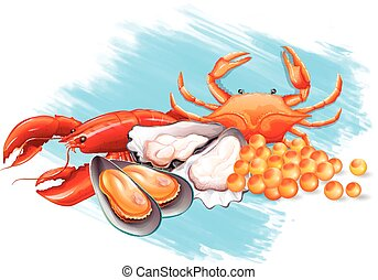 Different kinds of fresh seafood