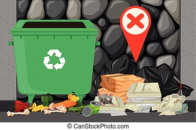 Trashcan and pile of trash on the street illustration