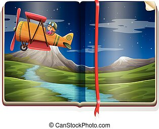 River scene with airplane flying in the book