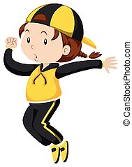 Little girl in exercise suit jumping