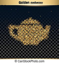 Gold glitter vector icon of teapot isolated on background....