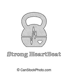 Kettlebell Heartbeat concept - Vector kettlebell icon with...