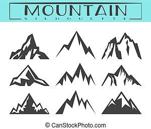 Mountain silhouette set - Mountain silhouette for logo,...