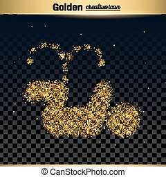 Gold glitter vector icon of pee isolated on background. Art...