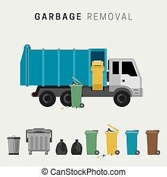 Garbage removal flat illustration. Banner with garbage truck...