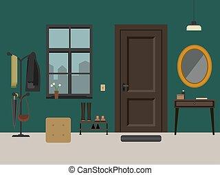 Hallway interior with furniture.