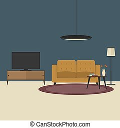 Living room concept in flat style. Vector illustration...