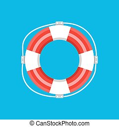 Lifebuoy isolated. Vector illustration in flat style