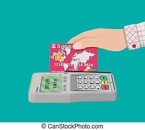 pos terminal and bank card - Bank card and payment pos...