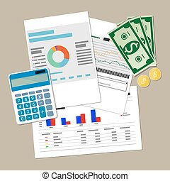 financial report concept. Business background. - Spreadsheet...