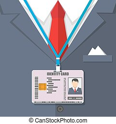 man suit with red tie and id badge. vector illustration in...