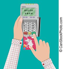 enters pin code for card on pos terminal - hand enters a pin...