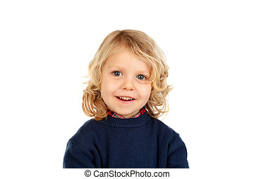 Small blond child with four years isolated on a white...