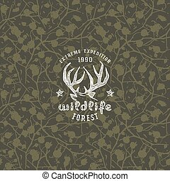 Camouflage seamless pattern and emblem for t-shirt