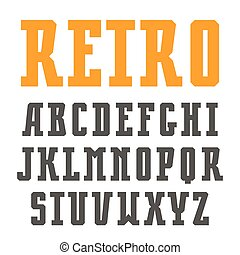 Narrow slab serif font in retro style. Isolated on white...
