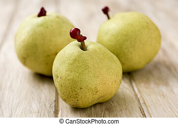passe crassane pears on a table - some passe crassane pears...