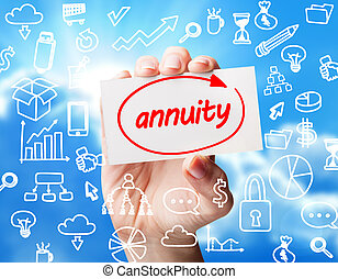 Technology, internet, business and marketing. Young business woman writing word:  Annuity